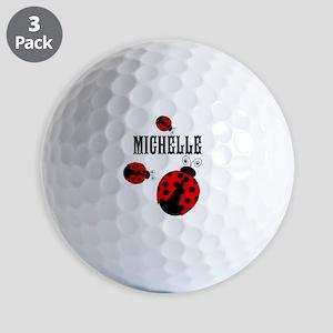 Cute Red | Black Ladybugs Name Golf Ball