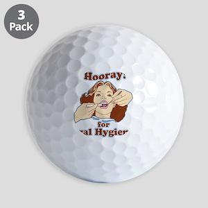 Hooray for Oral Hygiene Retro Colorc Golf Balls