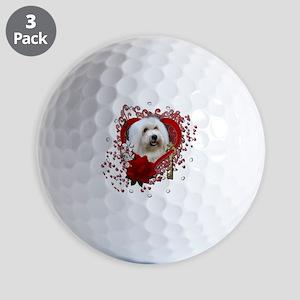 Valentine_Red_Rose_Coton_de_Tulear Golf Balls