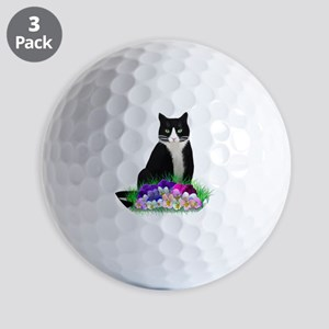Tuxedo Cat and Pansies Golf Balls