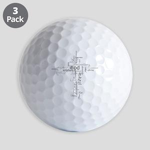 Christian cross word collage Golf Balls