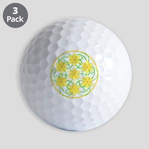 Daffodils Mandala Golf Balls