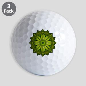 Green Flower Heart Chakra Mandala Yoga  Golf Balls