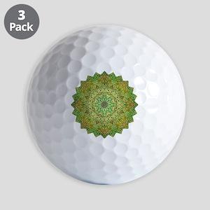 Green Gold Heart Chakra Mandala Yoga Sh Golf Balls