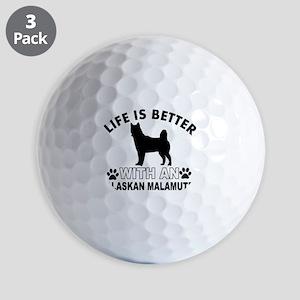 Alaskan Malamute vector designs Golf Balls