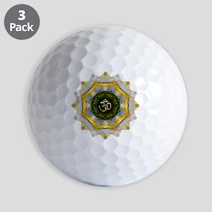 Gold Green Yoga Om Mandala Shirt Golf Balls