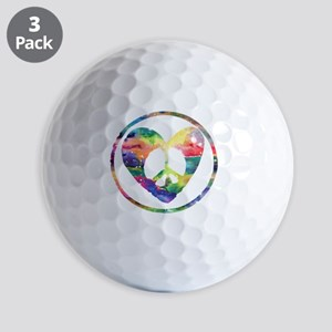 Peace Heart Rainbow C Golf Balls