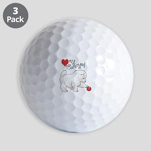 LOVE MY SAMOYED Golf Ball