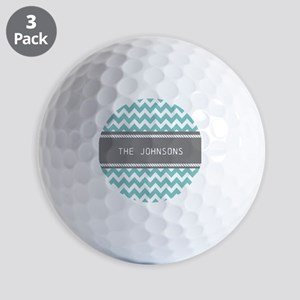 Teal Blue and Gray Modern Chevron Perso Golf Balls