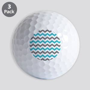 Teal and Gray Chevron Pattern Golf Ball