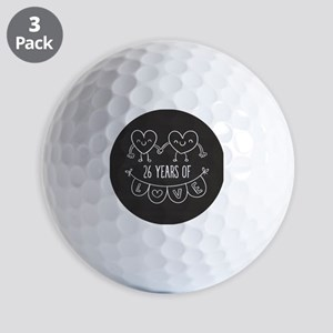 26th Anniversary Gift Chalkboard Hearts Golf Balls