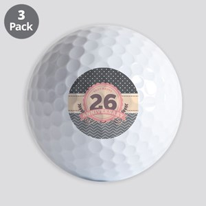 26th Anniversary Gift Chevron Dots Golf Balls