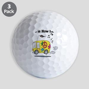 3-hippie bus Golf Balls