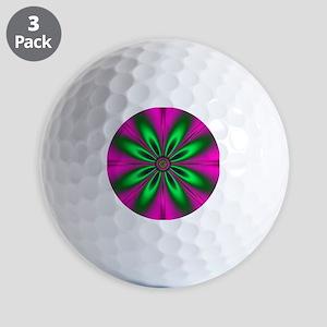 Green Flower on Pink Golf Balls