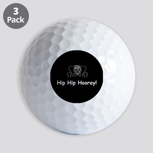 Hip Hip Hooray dark button Golf Ball