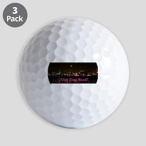 I Love Long Beach Skyline Night Golf Ball