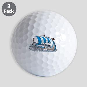 Blue Viking Ship Golf Ball