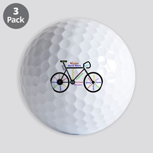 Bike made up of words to motivate Golf Balls