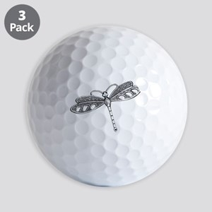 Metallic Silver Dragonfly Golf Balls