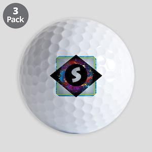 S - Letter S Monogram - Black Diamond S Golf Balls