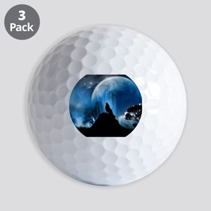 Wolf Howling At The Moon Golf Balls