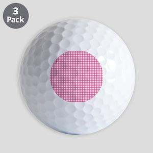Pink Check Gingham Patterns Golf Ball