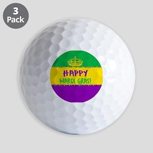 Happy Mardi Gras Crown and Beads Golf Balls