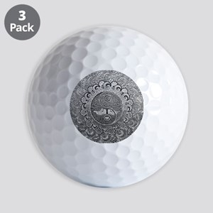 Shiny Metallic Tree of Life Yin Yang Golf Ball