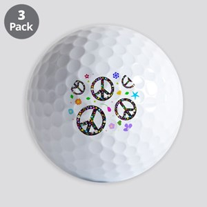 Peace signs and flowers pattern Golf Balls
