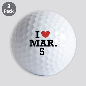 I Heart March 5 Golf Balls