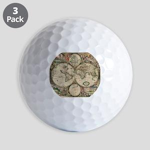 Antique World Map Golf Balls