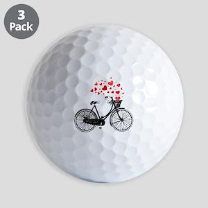 Vintage Bike with Hearts Golf Balls
