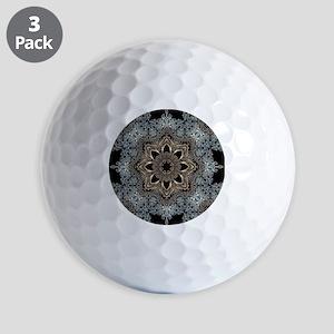 bohemian floral metallic mandala Golf Balls