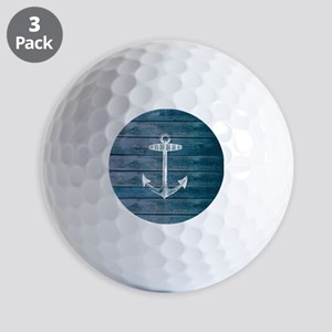 Anchor on Blue faux wood graphic Golf Balls