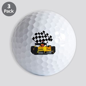 Yellow Race Car with Checkered Flag Golf Balls