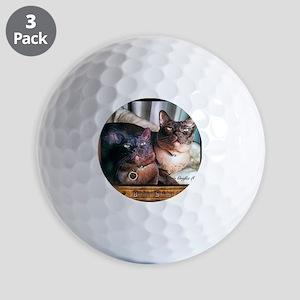 Burmese cat siblings, 2 Golf Balls