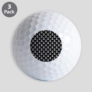 White Anchors Black Background Pattern Golf Balls