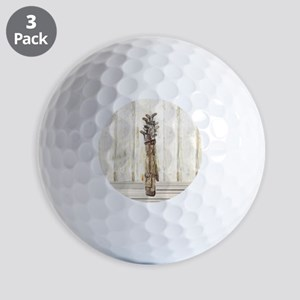 Antique Golf Clubs, Watercolor Print Golf Balls