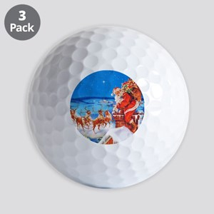 Santa and His Reindeer Up On a Snowy Ro Golf Balls