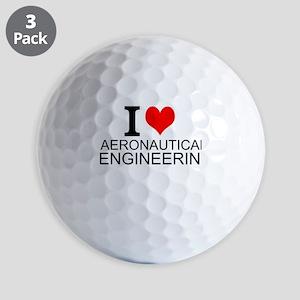 I Love Aeronautical Engineering Golf Ball