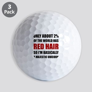 Red Hair Majestic Unicorn Golf Ball