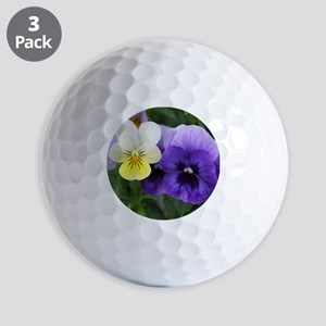 Italian Purple and Yellow Pansy Flowers Golf Ball