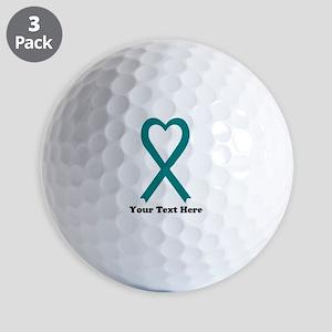 Personalized Teal Awareness Ribbon Golf Balls