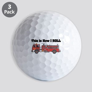 how i roll fire truck funny design Golf Ball