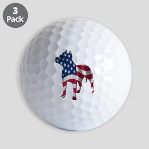 Patriotic Pit Bull Design Golf Balls