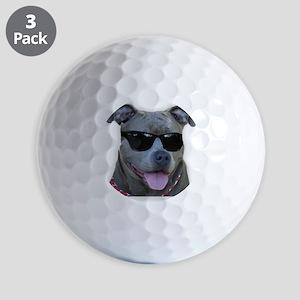 Pitbull in sunglasses Golf Ball