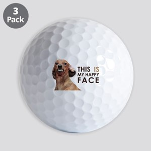 Happy Face Dachshund Golf Balls