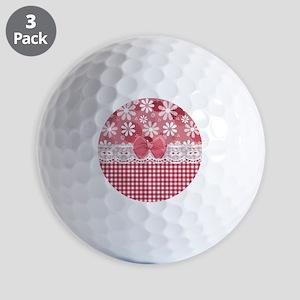 Pretty Pink Gingham Daisies Golf Balls