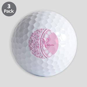 Stylish Pink and White Monogram Golf Balls