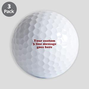 Three Line Custom Message Golf Ball